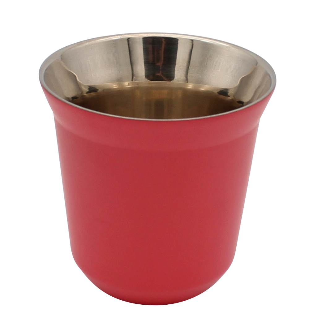 Dianoo Double Wall Espresso Coffee Cups - Stainless Steel Tea Coffee Cups, Easy Clean and Dishwasher Safe Fuchsia