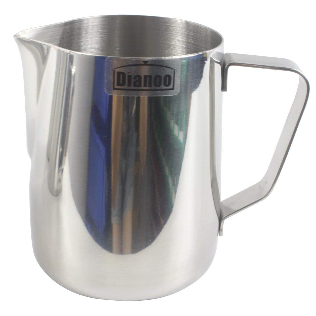 Dianoo Milk Pitcher, Stainless Steel Milk Cup, Good Grip Frothing Pitcher, Coffee Pitcher, Espresso Machines, Milk Frother & Latte Art, Europa Rounded Spout