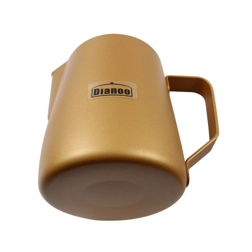 Dianoo Milk Pitcher, Stainless Steel Milk Cup, Good Grip Frothing Pitcher, Coffee Pitcher, Espresso Machines, Milk Frother & Latte Art - Gold