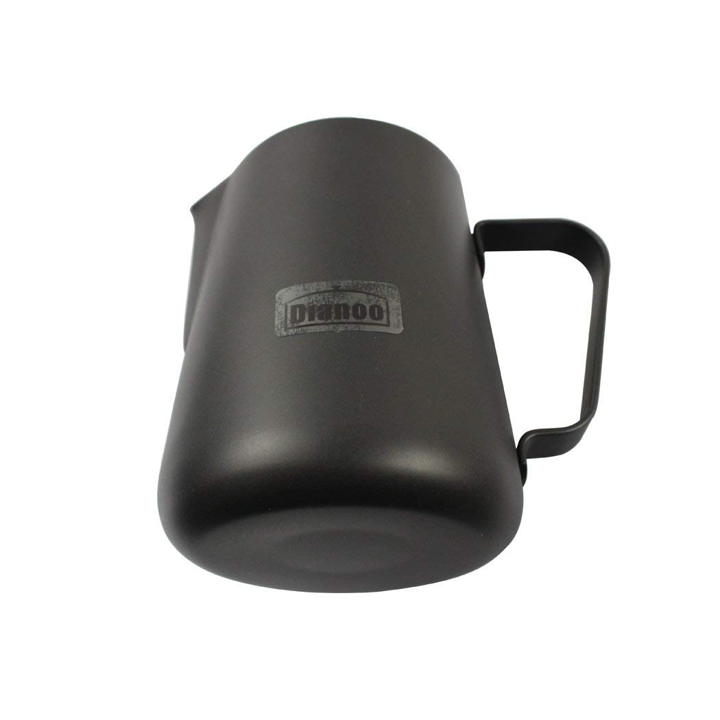 Milk Frothing Pitcher Jug - Stainless Steel Teflon Coating Coffee Tools Cup - Suitable for Espresso, Latte Art and Frothing Milk - Black