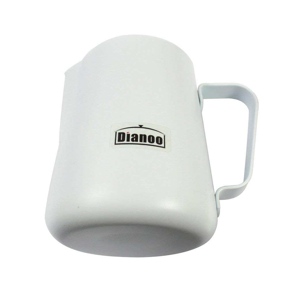 Milk Frothing Pitcher, Dianoo Stainless Steel Creamer Frothing Pitcher 350 ML 600ML - White