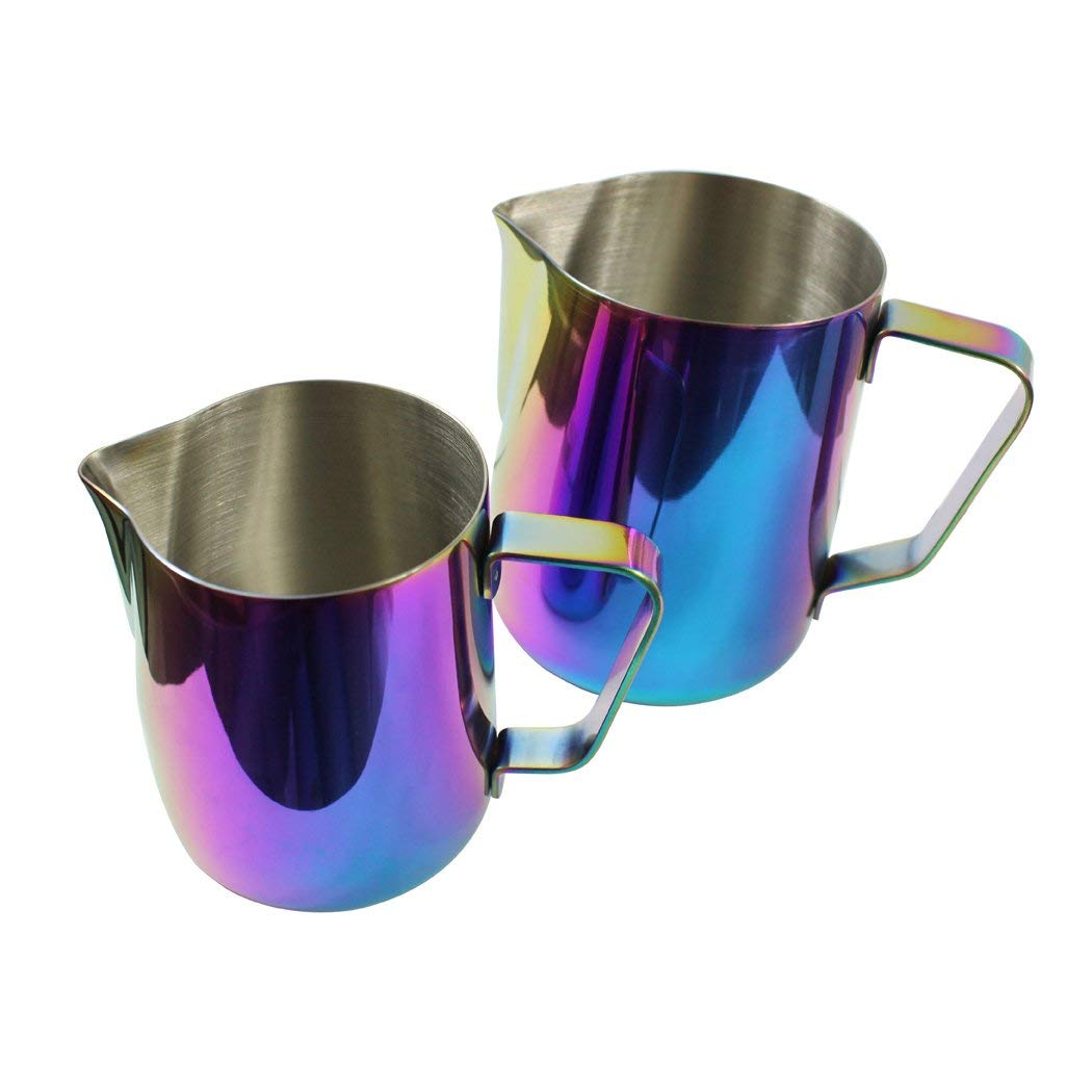 Dianoo Milk Pitcher, Stainless Steel Milk Cup, Good Grip Frothing Pitcher, Coffee Pitcher, Espresso Machines, Milk Frother & Latte Art - Multicolor