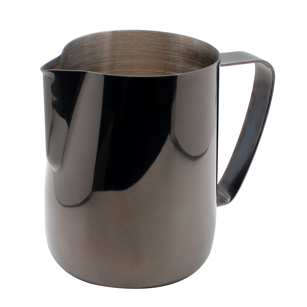 Dianoo Milk Frothing Pitcher Jug Stainless Steel Plated With Titannium Coffee Frothing Pitcher And Espresso Cups Black