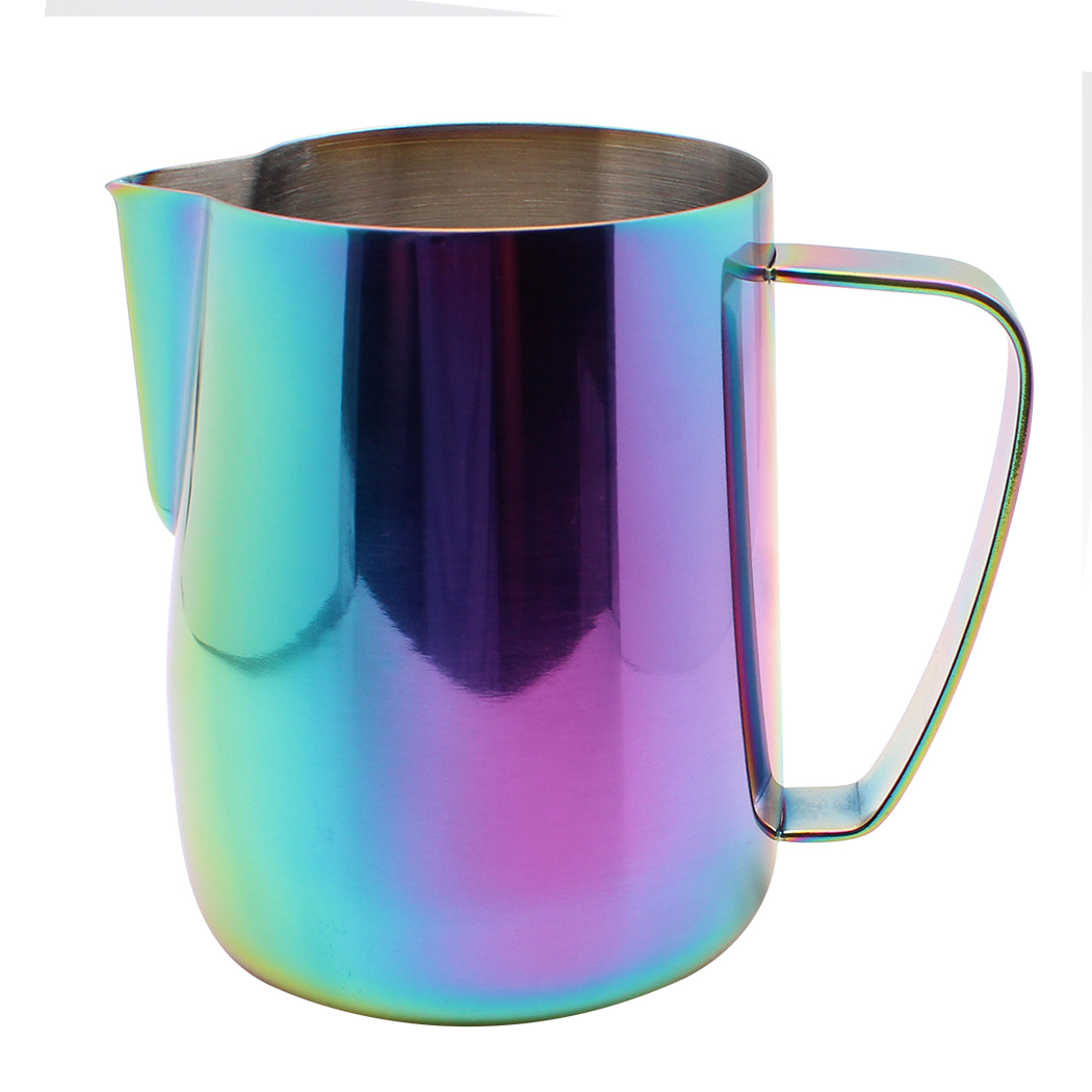 Dianoo Milk Frothing Pitcher Jug Stainless Steel Plated With Titanium Coffee Steaming Pitcher And Espresso Cups Multicolor 20 oz/600 ml