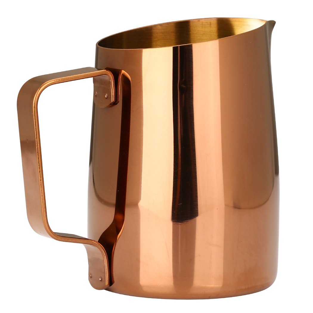 Dianoo Espresso Steaming Pitcher, Espresso Milk Frothing Pitcher Stainless steel, Coffee Latte Art Cup 14.2 OZ (420ML) Gold