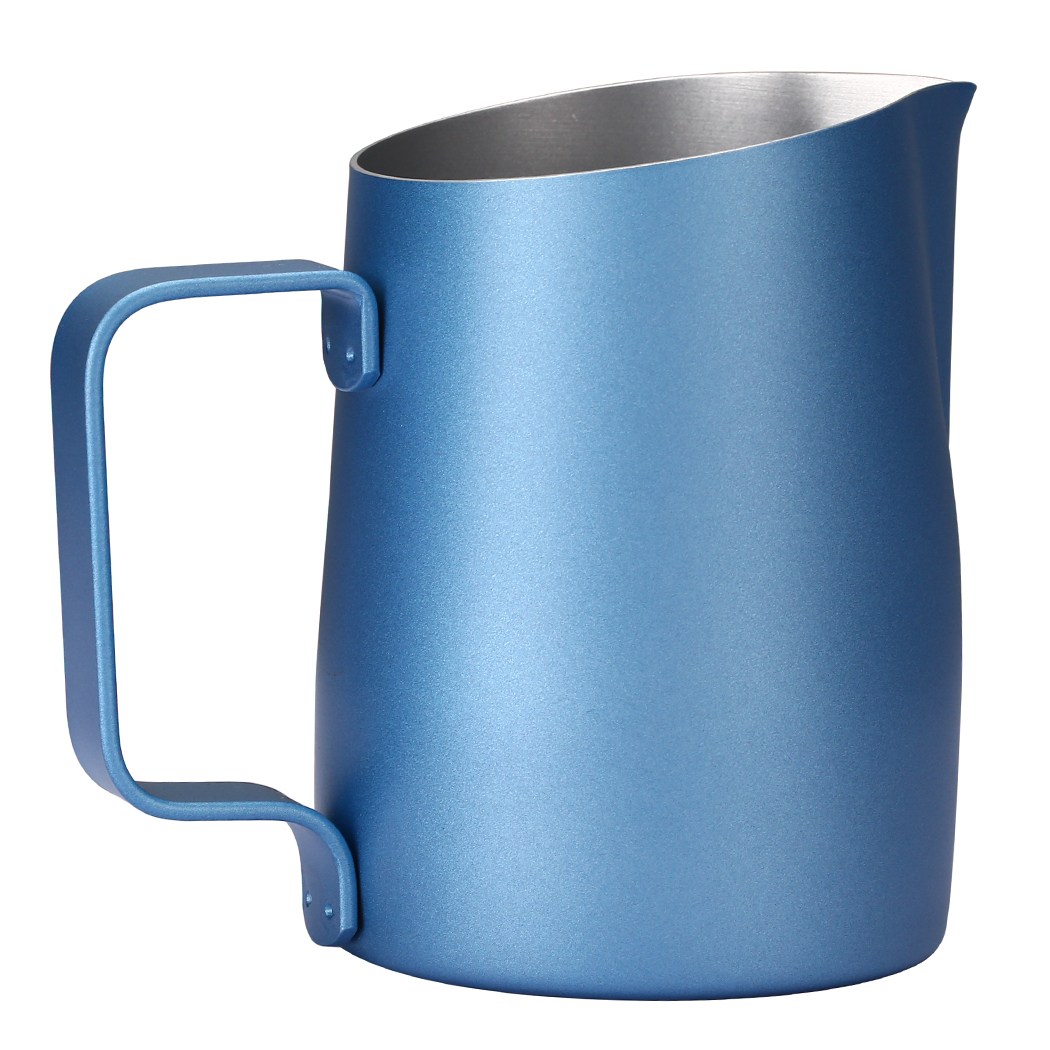 Dianoo Espresso Steaming Pitcher, Espresso Milk Frothing Pitcher Stainless steel, Coffee Latte Art Cup 14.2 OZ (420ML) Blue