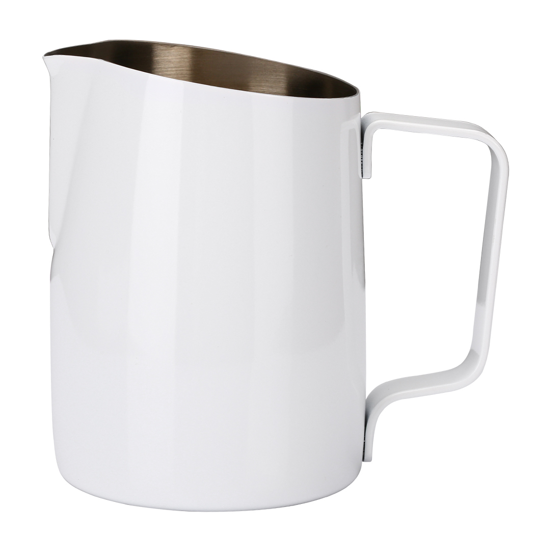 Dianoo Espresso Steaming Pitcher, Espresso Milk Frothing Pitcher Stainless steel, Coffee Latte Art Cup 14.2 OZ (420ML) White