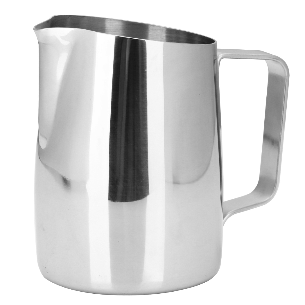 Dianoo Espresso Steaming Pitcher, Espresso Milk Frothing Pitcher Stainless steel, Coffee Latte Art Cup 14.2 OZ (420ML) Silver