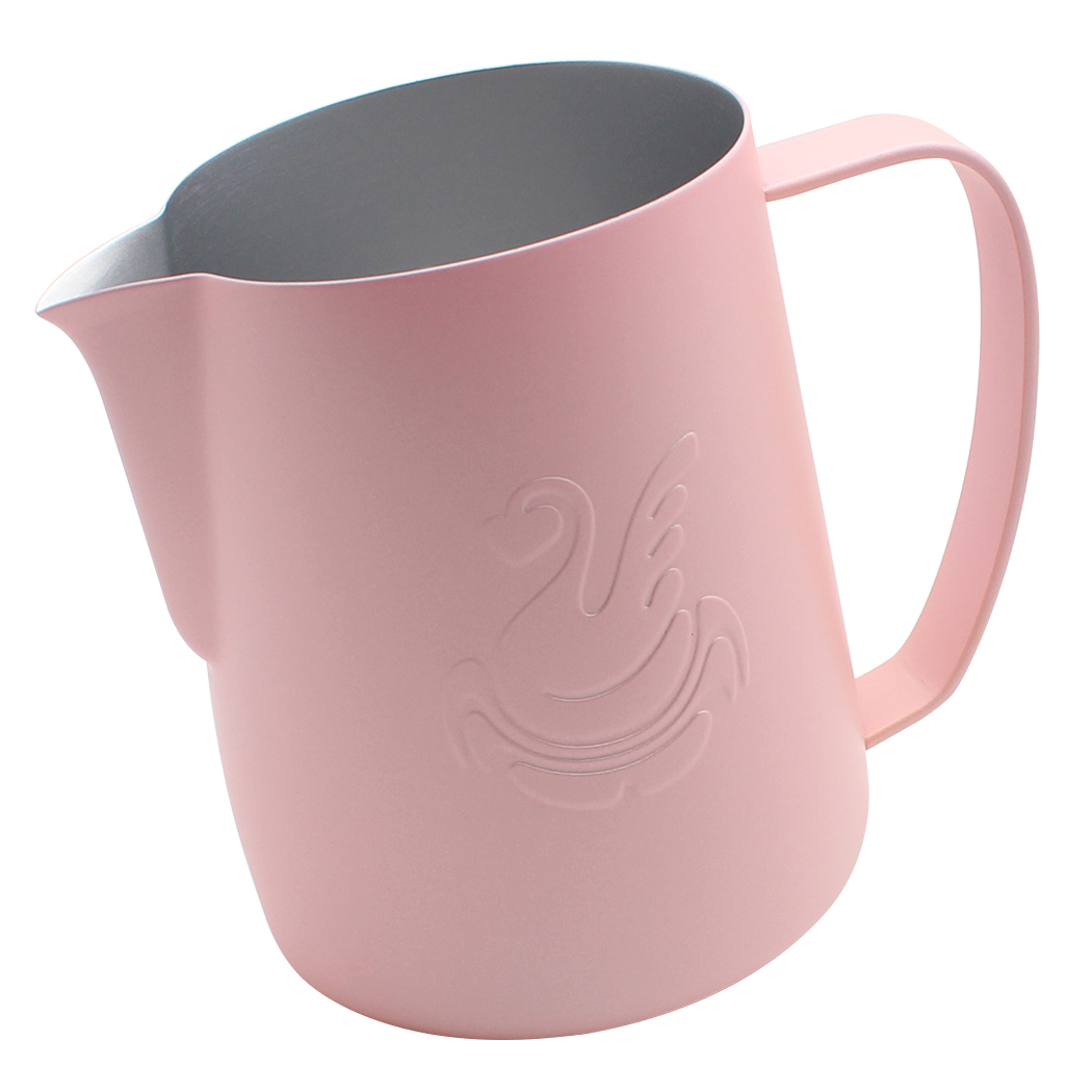 Dianoo Espresso Steaming Pitcher, Espresso Milk Frothing Pitcher Stainless steel, Coffee jug, Latte Art Cup 20 OZ (600ML) Pink