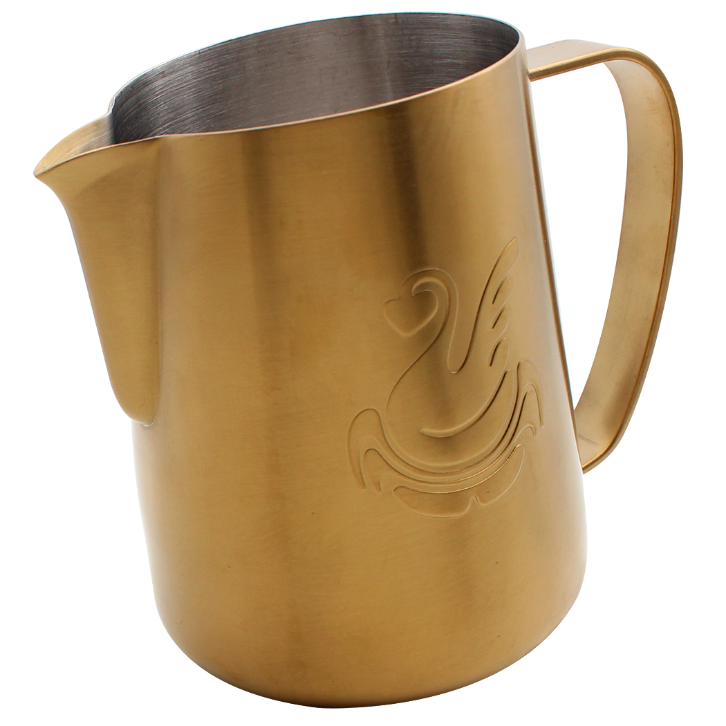 Dianoo Espresso Steaming Pitcher, Espresso Milk Frothing Pitcher Stainless steel, Coffee jug, Latte Art Cup 20 OZ (600ML) Gold