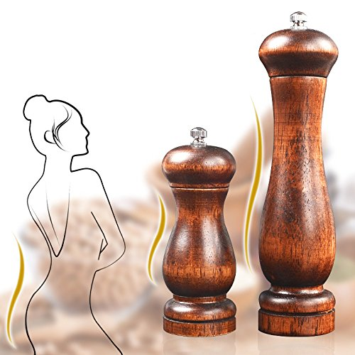 Dianoo 2pcs Wood Salt And Pepper Grinder Pepper Mill And Salt Shaker Set Wooden With Ceramic Core Women Body Shape 5 Inch And 8 Inch