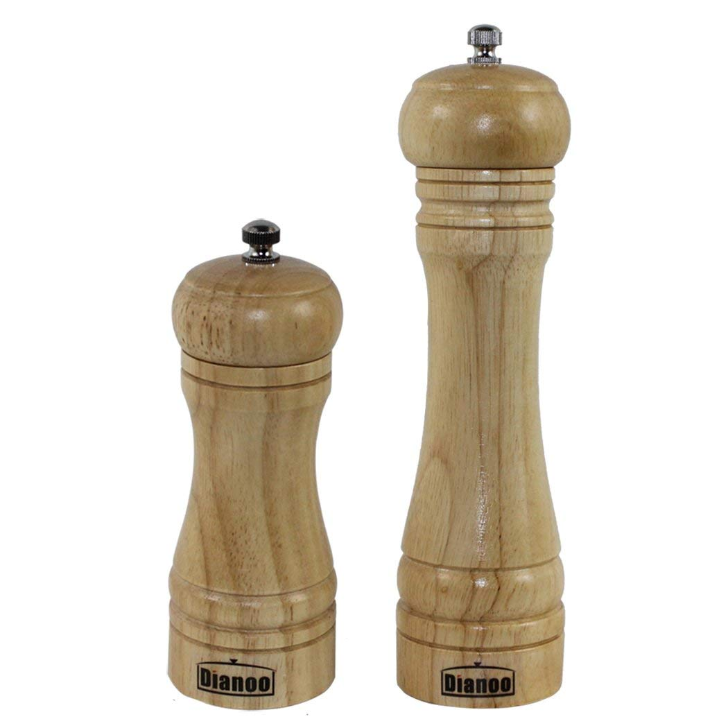 Dianoo High Quality Anti-fall Oak Wood Pepper Mill and Grinder, Wooden Grinding Ceramic Core Salt and Pepper Grinder, 2PCS (One is 8 inch, the other is 5 inch)