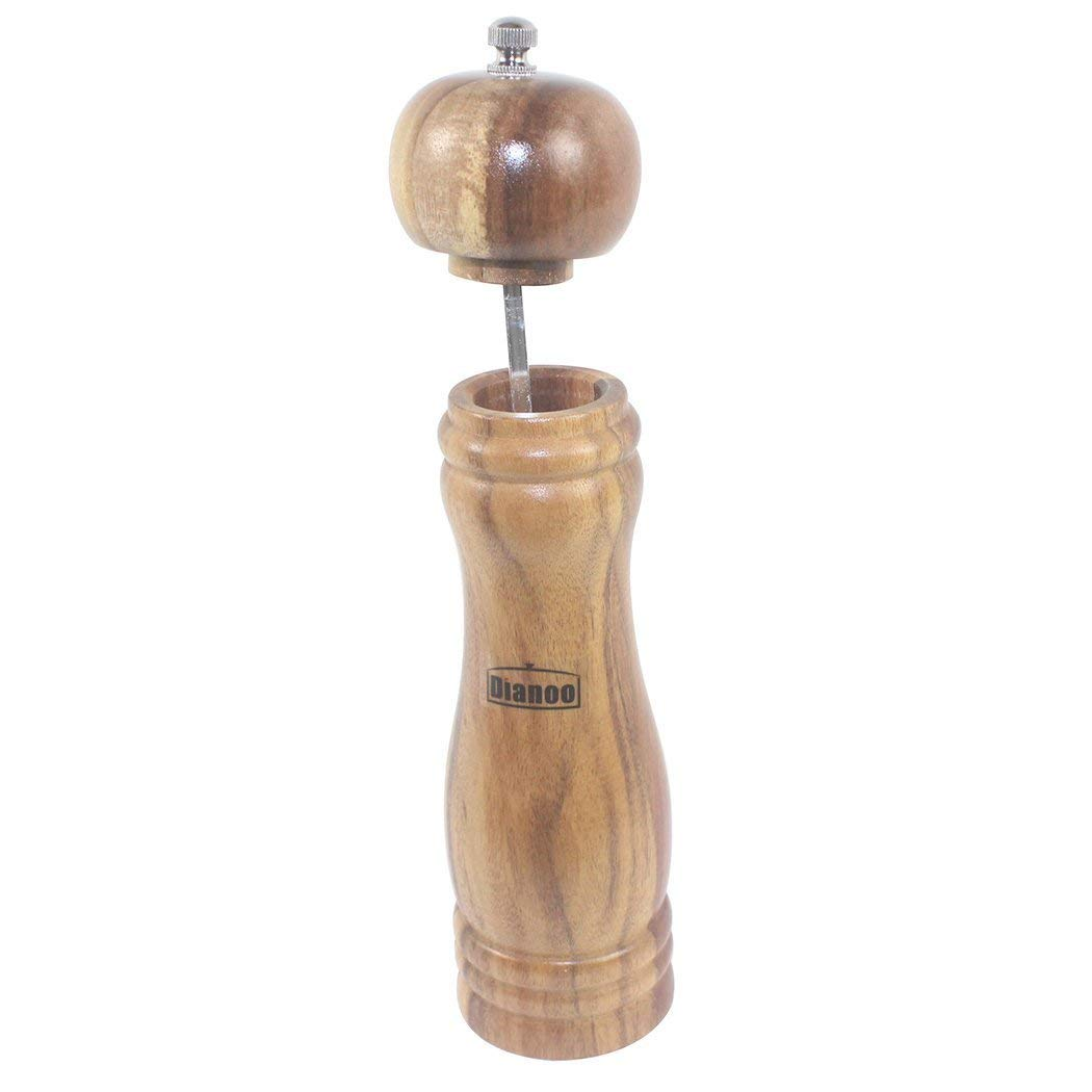 Dianoo Acacia Wood Pepper Mill, Spice Mill Salt Grinder Muller Tool with Ceramic Grinding Mechanism - 9 Inch