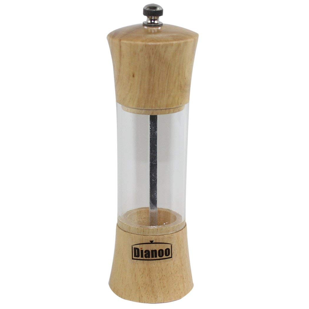 Dianoo Salt and Pepper Grinder Set, Shaker Lids, Oak Wood, Glass and Stainless Steel Mill
