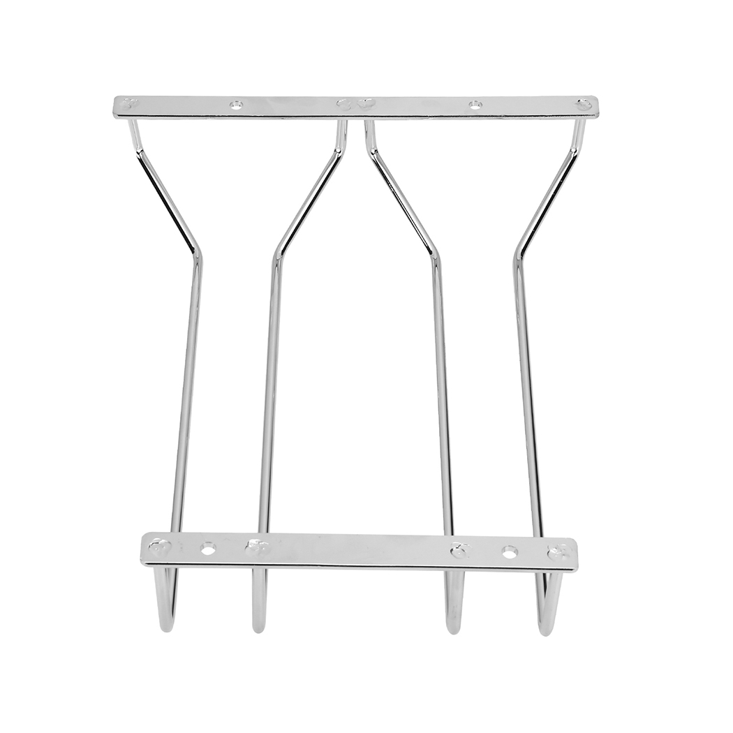 Dianoo wine glass rack under cabinet hanging wire stemware rack holder with screws chrome finish