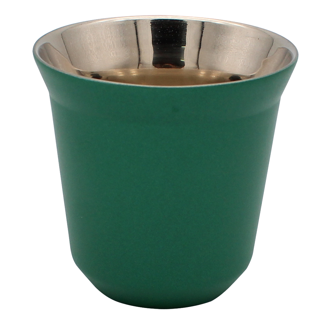 Dianoo Double Wall Espresso Coffee Cups - Stainless Steel Tea Coffee Cups, Easy Clean and Dishwasher Safe Green