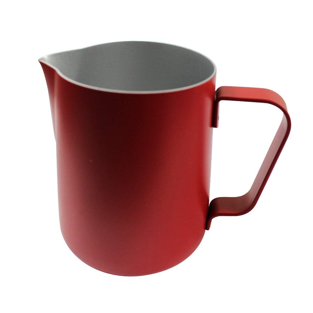 Dianoo Milk Pitcher, Stainless Steel Milk Cup, Good Grip Frothing Pitcher, Coffee Pitcher, Espresso Machines, Milk Frother & Latte Art - Red