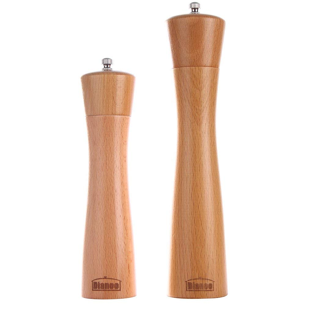 2PCS Dianoo Wood Pepper Grinder Salt And Pepper Mill Set Wooden Adjustable Shakers with Ceramic Core 8 Inch And 10 Inch